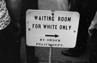 25th May 1961: A police sign for a 'white only' waiting room at the bus station in Jackson, Mississippi. (Photo by William Lovelace/Express/Getty Images)